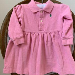 Ralph Lauren Pink Pique Polo Long Sleeve Dress